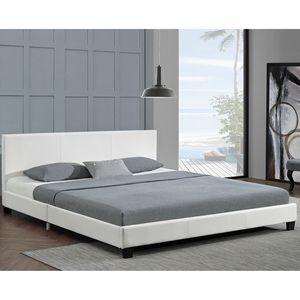 Juskys Polsterbett Bolonia 140 x 200 cm weiß – Bettgestell mit Lattenrost & Kopfteil – Kunstleder & Holz – Bett Jugendbett