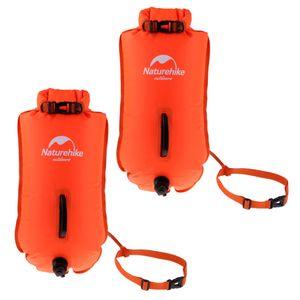 2er Pack aufblasbarer Packsack mit hoher Sichtbarkeit, Sicherheit, Schwimmboje, Schleppschwimmer, Fluo