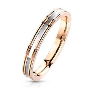 Damen Ring Edelstahl Perlmutt-Inlay Herren Bandring Autiga® rosegold 59 - Ø 18,95 mm