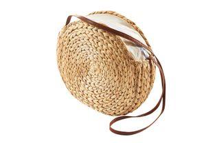 Tasche Umhängetasche Korbtasche rund aus Wasserhyazinthe geflochten D 33 cm