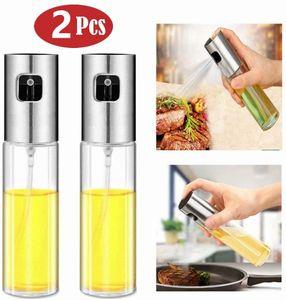 2Stk Öl Spray Öl Sprüher Essig Spender Glas Ölsprüher mit Edelstahl Pumpsprühkopf Sprühflasche 100ml Oil Sprayer für Barbecue, Kochen usw