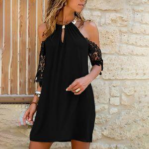 Damen Sommermode Lässig Einfarbig Spitze Kurzarm Loses Kleid Größe:M,Farbe:Schwarz