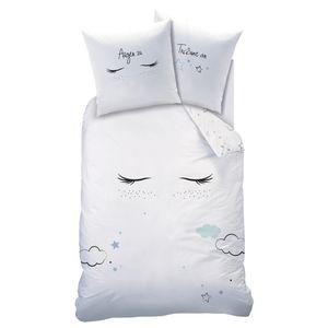 Sterne Mädchen-Bettwäsche in Biber 80x80 + 135x200 cm ☆ Sleepy Eyes · Wolken & Wimpern - 100% Baumwolle