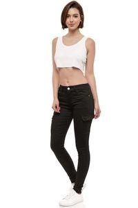 Damen Denim Cargo Jeans Hose Stretch Treggings Skinny Röhrenjeans Big Size, Farben:Weiß, Größe:42