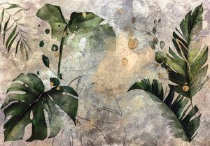 Vlies Fototapete Beton Vintage Blätter (368x254cm - 4 Bahnen) Betonoptik Wohnzimmer Schlafzimmer Wandtapete Moderne Tapete UV-Beständig Montagefertig