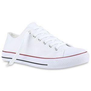 Mytrendshoe Herren Sneakers Stoffschuhe Schnürer Sportschuhe Low Sneaker 816742, Farbe: Weiß Rotstreifen, Größe: 43