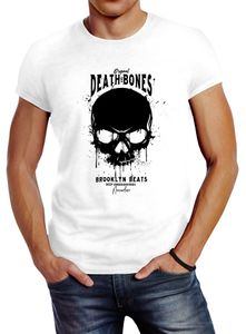 Herren T-Shirt Skull Death and Bones Totenkopf Club Outfit Slim Fit Neverless® weiß M