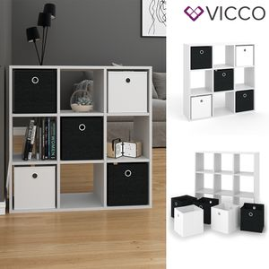 VICCO Raumteiler HYLDA 9 Fächer Weiß Standregal Regal Bücherregal Büroregal