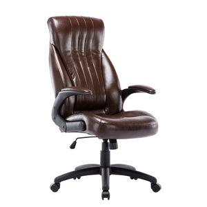 Bürostuhl Chefsessel Schreibtischstuhl Drehstuhl mit Rückenlehne ergonomisch Computerstuhl, Braun