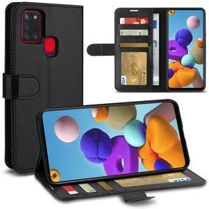 Schutzhülle für Samsung Galaxy A21s Handy Hülle Schwarz Schutz Tasche Flip Case, Smartphone:Samsung Galaxy A21s