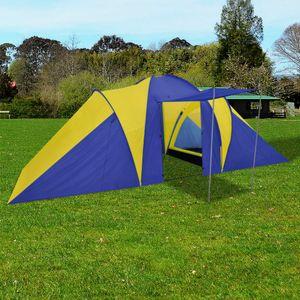 Outdoor Familienzelt Kuppelzelt 6 Personen wasserdicht ,Campingzelt ,Gartenzelt UV Schutz 50+, Gelb #DE701020