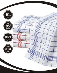 Merkanta Geschirrtücher 10er Set | Küchentücher 50x70cm | 100% Baumwolle | Geschirrhandtücher | rot blau kariert | 10 Handtücher Küche | super saugfähig | Küchenhandtücher | Abtrockentücher