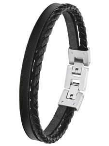 s.Oliver 2027411 Herren Armband Edelstahl Silber schwarz 21,5 cm
