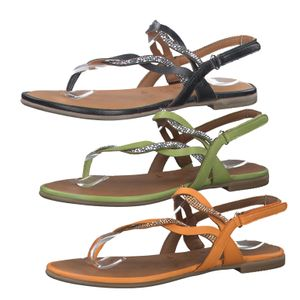 Tamaris 1-28156-24 Damen Zehentrenner Sandalen Leder, Größe:40 EU, Farbe:Grün