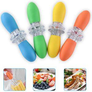 4 Paar Maiskolbenhalter, Doppelzinken-Grillgabel mit Silikongriff für Hausmannskos, BBQ Partys(Gelb+Orange+Grün+Blau)