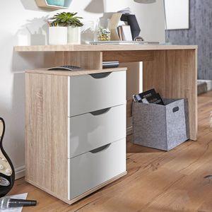 WOHNLING Schreibtisch MASSA 120 x 76 x 53 cm mit 3 Schubladen in Sonoma Weiß | Computertisch modern für Jugendliche | Laptoptisch platzsparend mit Ablage