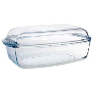 Auflaufform Glas 37,5 x 22 cm Backform Bräter mit Deckel Neu FLORINA LIMPO
