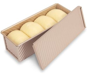 Teig Toast Brot Backform Gebäck Kuchen Brotbackform Mold Backform mit Deckel(Rechteck-Welle)