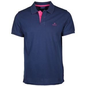 Gant Herren Kontrastkragen Pique Rugger Polo-Shirt, Blau XL