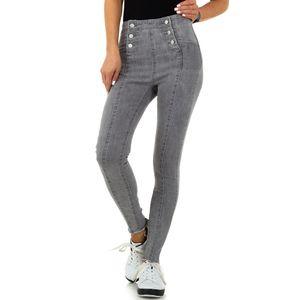 Ital-Design Damen Jeans High Waist Jeans Hellgrau Gr.m/38