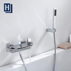 Moderne Badewannenarmatur mit Regal, Wannenarmatur Wasserfall mit Handbrause Badewanne Armatur Duscharmatur für Bad, Wannenbatterie Wasserhahn inkl. Wandhalterung