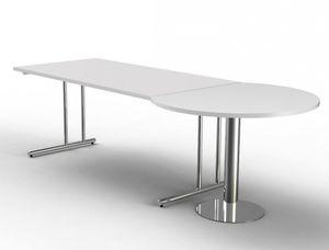 ARTLINE Schreibtisch mit Besprechungstisch 260x80/100 cm Weiß