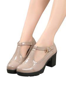 (Nude ,42)Damen Retro Brogue Schuhe Lolita Oxford Schuhe Mode Ledersandalen Mit Dickem Absatz
