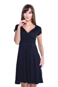 Damen Kleid Dress V-Ausschnitt , Dunkelblau XS/S 34/36