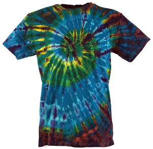 Batik T-Shirt, Herren Kurzarm Tie Dye Shirt - Blau/braun Spirale, Mehrfarbig, Baumwolle, Größe: L