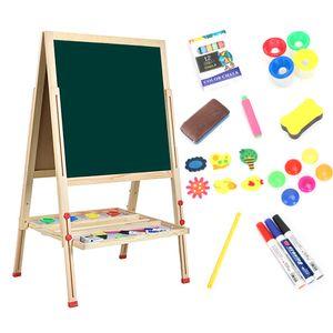 Dripex Tafel Kiefer Holz Kindertafel 59x59cm Malerei Doppelseitige Höhenverstellbar Standtafel mit Magnetische Zubehör ab 4 Jahre alt