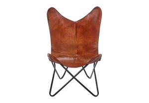 Butterfly Chair braun aus Leder und Metall klappbar