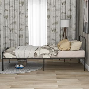 Einzelbett Tagesbett Metallbett 90x200cm Bett mit Lattenrost Daybed Metallrahmen, Bettrahmen Metall für Gästebett, schwarz