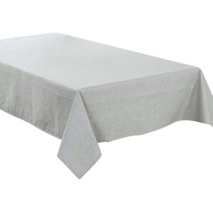 ALmi 130x200cm Tischtuch Baumwolle Leinen Wasserdicht Einfarbig Rechteckig Tischdecke, Hellgrau
