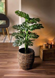 Kunstpflanze 'Philodendron' täuschend echt schwarzer Top Kunststoff
