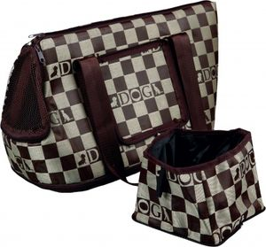 TRIXIE Chess, Soft pet carrier, Handbag pet carrier, Hund, Top & front load, Beige, Braun, Muster