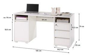 Schreibtisch weiß B 145 cm PC Computertisch Kinder- und Jugendmatratzeschreibtisch Jugendschreibtisch Bürotisch Jugendzimmer Kinder- und Jugendzimmer