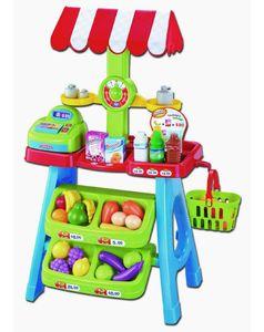 Kinder Marktstand Kaufladen Spielladen mit Kasse Sonnenschirm + Zubehör