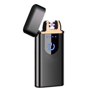 Neu Touch Sensor Flammenloses Elektrisches Plasma Feuerzeug USB Leichterer - Schwarz