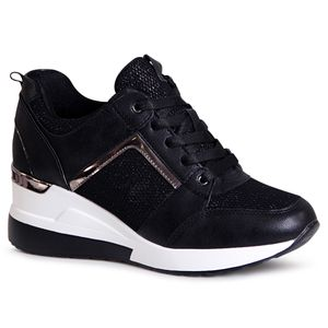 topschuhe24 1996 Damen Keilabsatz Sneaker Halbschuhe, Farbe:Schwarz, Größe:38 EU