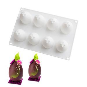 8 Hohlräume 3D Ei Form Silikonform DIY Ostereier Kuchen Fondant Gelee Schokolade Dessertform Küche Backen Werkzeug