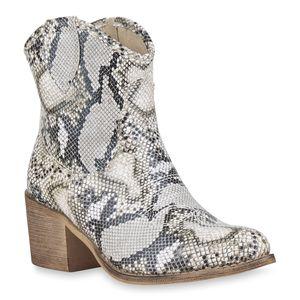 Mytrendshoe Damen Cowboy Boots Western Stiefeletten Stickereien Cowboystiefel 830055, Farbe: Weiß Hellgrau Snake, Größe: 37