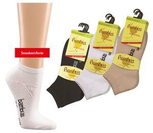 6 Paar Bambus Sneaker Socken Sneakersocken für Damen Herren WO weiß Gr. 39/42
