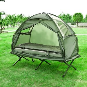 SoBuy® Feldbett,4in1-Zelt mit Campingliege,Schlafsack,2 Personen,OGS32-L-GR