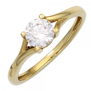 JOBO Damen Ring 333 Gold Gelbgold 1 Zirkonia Goldring Größe 58