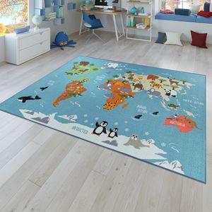 Kinder-Teppich, Spiel-Teppich Für Kinderzimmer, Weltkarte Mit Tieren, In Grün, Größe:140x200 cm