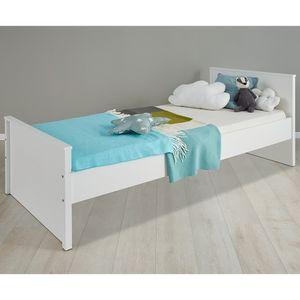Jugendbett Kinderbett Bettgestell Gästebett Bett Ole Weiß Melamin 209 x 97 cm