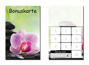 250 Stück Bonuskarten Wellness (BOK-416) mit 10 Stempelfeldern Neutrale Treuekarten Orchidee