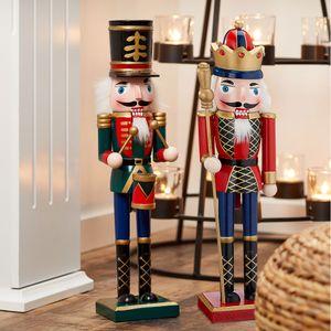 """Nussknacker Set """"König"""" + """"Trommler"""" aus Holz, rot/grün, Gr: M, ca. H38cm Weihnachtsdeko Figur"""