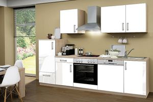 Küchenblock ohne Elektrogeräte Premium 280 cm in weiß glänzend (Geschirrspüler geeignet)