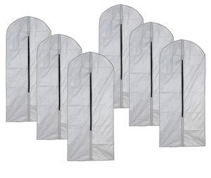 VonBueren Kleidersack grau, ca. 60 x 120 cm, 6 Stück | Aufbewahrung Kleiderhüllen für Mäntel Jacken Ballkleider Kleider Anzug | Abdeckung mit Reißverschluss | Schutz Kleiderhülle Anzughülle Anzugsack